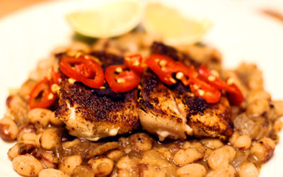 Authentic Mexican Beans, with Mahi Mahi