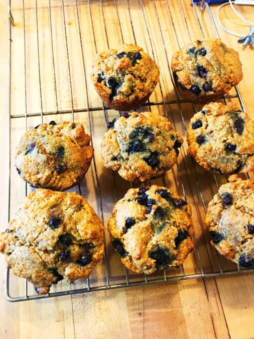 Blueberry muffins on cooling racks