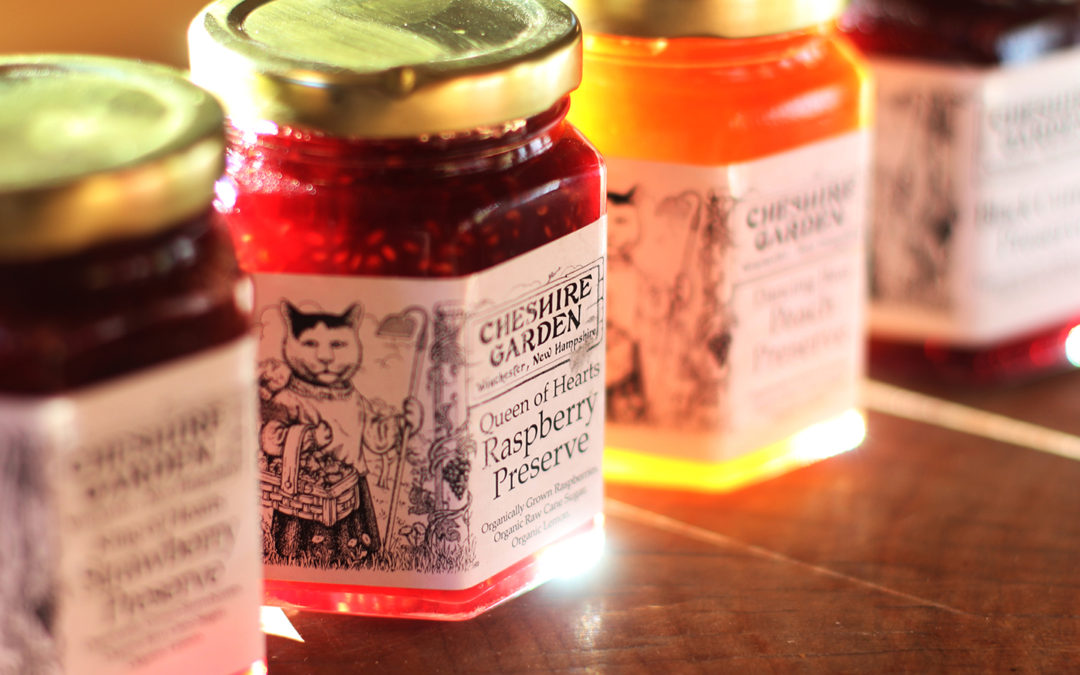 Jars of Cheshire Garden fruit preserves