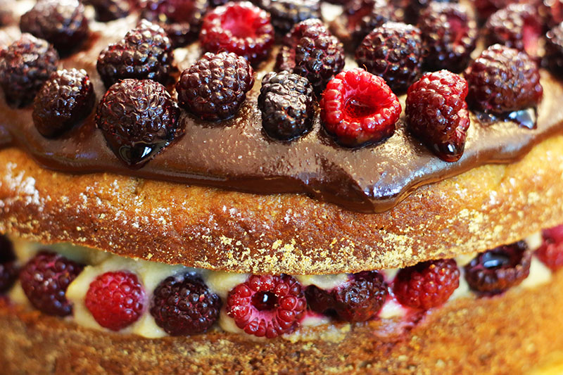 Raspberry Maple Boston Cream Pie