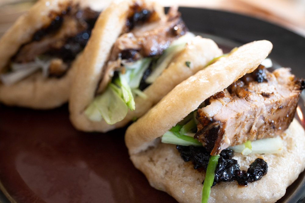 Lotus Leaf Buns with Red Braised Pork Belly and Black Bean Garlic Sauce