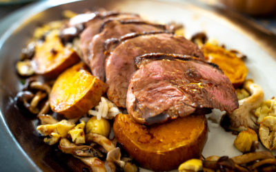 Carolina Gold Rice with duck breast, Mushrooms, chestnuts and squash